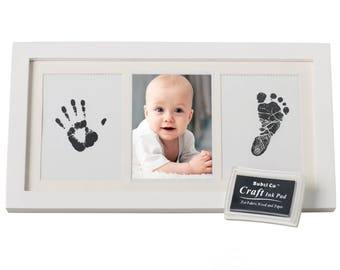 BABY HANDPRINT Kit and Footprint Frame - Baby Prints Photo Keepsake in White with Non-Toxic Ink Pad