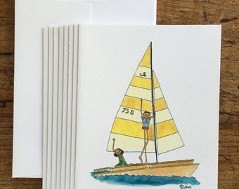 Whimsical Sailboat Note Cards