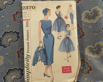 """Simplicity vintage 50s dress and jacket pattern size 14, bust 34"""""""