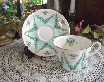 Royal Albert Shot Silk Teacup And Saucer Set, Vintage Teacup And Saucer, Aqua Teacup, Shabby Cottage Teacup, Vintage Tea Party, Shell Teacup