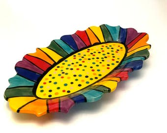 Stoneware Ceramic Small Oval Serving Platter Rainbow Striped Vanity Perfume Tray Handmade Dotted on Lemon Yellow Made to Order PL00021