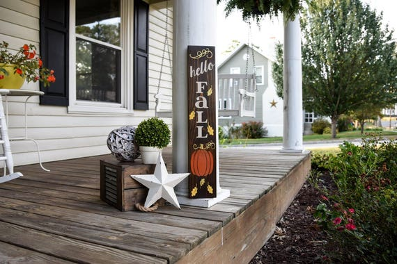 Hello Fall porch sign.  Fall, Fall sign, Fall decor, Porch sign, Autumn, Autumn sign, Pumpkins, Pumpkin porch sign, Pumpkin wood sign, porch