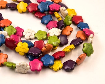 Flower Beads, 15mm, 26pc Strand, Mixed Color,  Howlite Stone Beads -B869