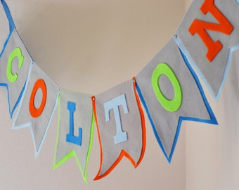 Large Felt Baby Name Banner / Birthday Baby Shower Decor / Grey Blue Orange Green / Other Color Options Available / Custom Party Banners