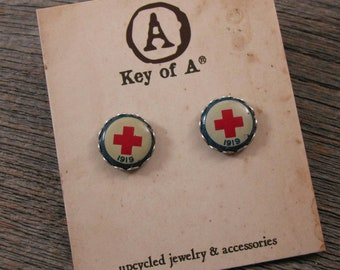 Nursing Jewelry - American Red Cross - Authentic WW1 Era 1919 Red Cross Converted Pinback Stud Earrings - Red, White, Blue