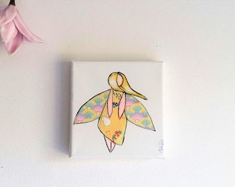 painting nursery, kids fairy watercolor fairy painting girl painting fairy girl wall decor yellow fairy girl bedroom