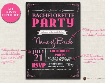Bachelorette Invitation - Chalkboard Themed Bachelorette Party Invitation Template to Complete at Home DIY