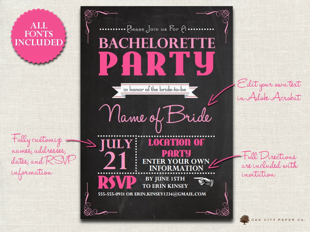 Bachelorette Invitation Chalkboard Themed Bachelorette Party