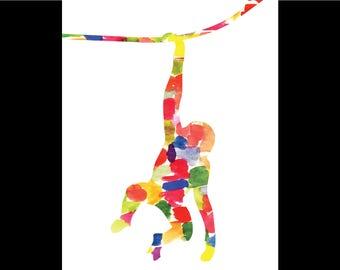 Watercolor Monkey Print
