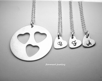 Set of 4 Necklace for mother and 3 daughter