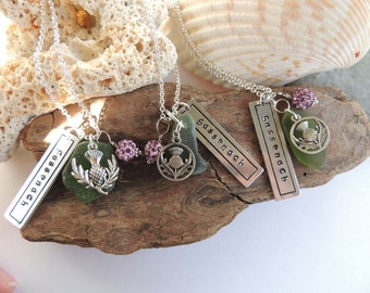 Outlander Fan Necklaces, Sassenach Necklace, Sea Glass Necklace, Authentic Sea Glass