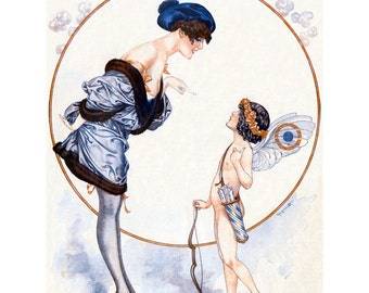 French Valentine Card - Girl Scolds a Cupid - Repro Herouard