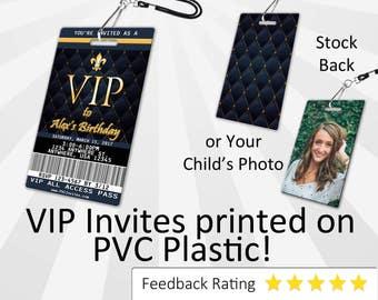 VIP Pass Invitation PLASTIC Vip Pass, Vip Pass Invitation, Birthday Invitation, Birthday Invite, Vip Pass Birthday Invitation SKU-INV283