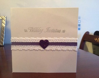 Lacey heart invitation