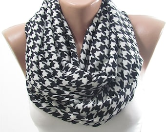 Clothing Gift Houndstooth Scarf Infinity Scarf Black and White Scarf Winter Scarf Holiday Christmas  For Mom For Wife For Mom Gift For Women