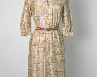 Vintage 1950s 50s Cotton Shirtwaist Wiggle Dress Mid Century Modern Atomic Paisley Print