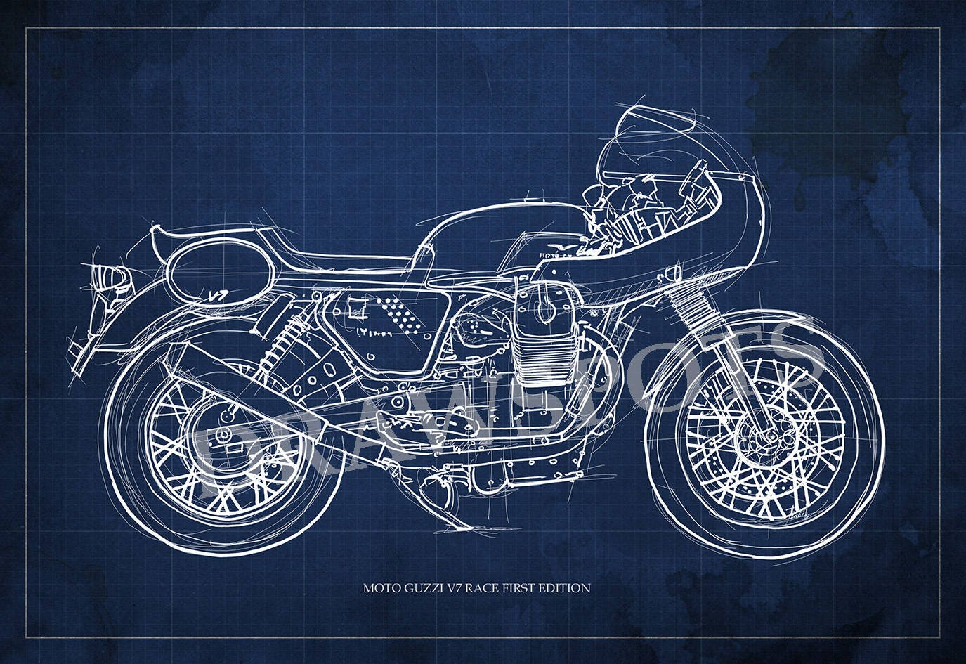 MOTO GUZZI v7 Race erste Edition Blueprint Art Print größere