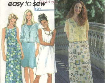 Simplicity 7961 Easy to Sew Misses Summer Tank Dress & Jacket Sewing Pattern Size 6 - 8 - 10 Cruise Style