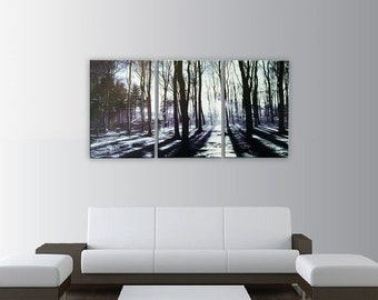 Memorial Closeout Sale Sunrise In The Forest 3-piece Photography Night Art