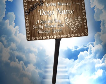 Personalised Dog Memorial Plaque & Stake. 100% Waterproof, UV Protection.