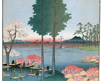 Hand-cut wooden jigsaw puzzle. SAWA BLUFF JAPAN. Hiroshige. Japanese woodblock print. Wood, collectible. Bella Puzzles.
