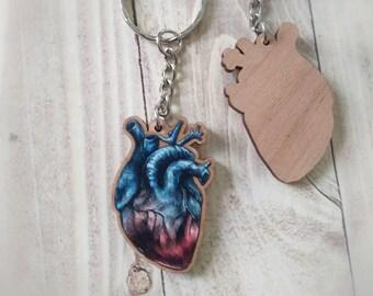 Human Heart Wooden Keychain