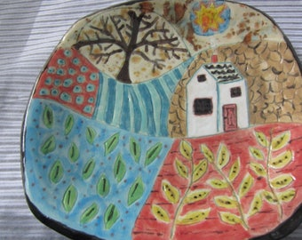 Folk Art Ceramic Country Farm House Colorful Plate Dining and Kitchen Decor House Warming Gift for New Home
