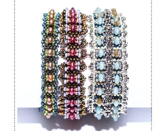 Bead weaving bracelet patterns.Trio Of Bracelet  Patterns