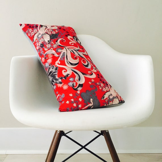 """SALE Vintage Red Fairy Pillow Cover 14""""x24"""" Lumbar Cushion Pillow Mid Century Whimsical Seasons Winter Fairy Floral"""