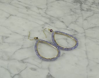14K Amethyst Large Earrings Yellow Gold (pierced)