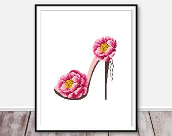 Modern cross stitch pattern Flower xstitch Shoe counted cross stitch chart Embroidery Floral cross stitch pink peony xstitch Shoe xstitch