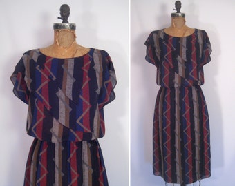 1970s 1980s sheer tribal print dress • 70s 80s abstract print day dress • vintage draped secretary dress