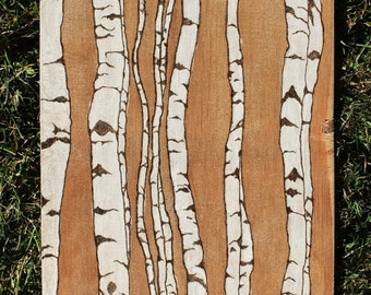 Birch Trees Woodburning