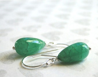 Genuine Emerald Drop Earrings / Accessories / Sterling Silver and 14k Gold Filled Dangle Earrings / Emerald Dangle Earrings