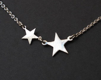 LITTLE 2 STAR NECKLACE, Silver star necklace, Free Shipping, Initial Necklace, Sterling Silver,Tiny 2 Silver Star Necklace- Little Star