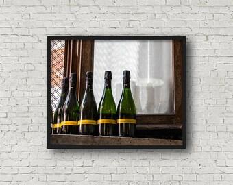 Wine Bottles Print / Digital Download / Fine Art Print/ Wall Art / Home Decor / Color Photograph / Food Photography / Kitchen Print