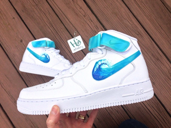 Ocean Wave Air Force 1 lows, mids or highs. 2 nike signs painted with ocean  wave design. HJartistry. Shipping takes up to 8 weeks to receive