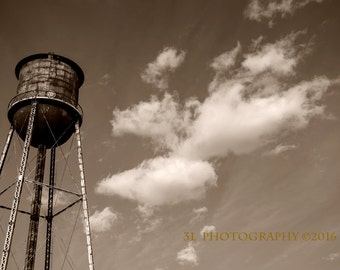 Fine Art Photography-Rustic Photo-Country Home Decor-Water Tower-Sepia Print