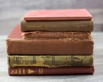 Antique Vintage Tattered Old Red Book Bundle Home Decor Book Shelf