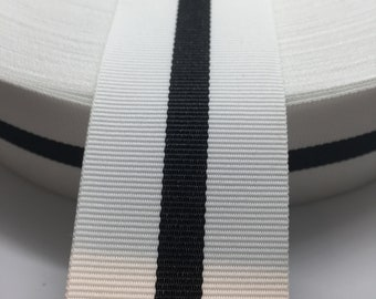 """3 yards 1.5"""" Reversible Tuxedo White with Black Stripe Grosgrain Ribbon"""