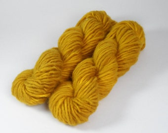 Mustard Brown Semi Solid Chunky Pure Wool 50g