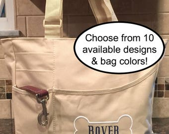 Puppy Tote - Dog Bag - Day Camp Bag - Puppy Tote - Dog Gift - Cat bag - Personalized Name Pet Travel Organizer Tote - Animal Tote