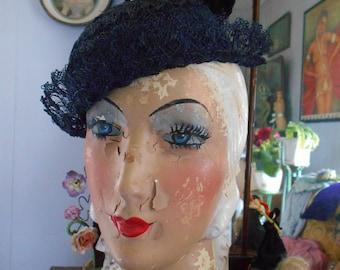 Cute 1930's Navy Blue Horsehair Hat