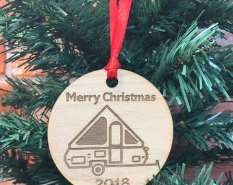 2018 A-Frame Christmas Ornament, Pop Up A-Frame Trailer, Pup, A-frame Christmas Tree, A-frame Glamper, A-frame Glamping, Camp, Pup Camper