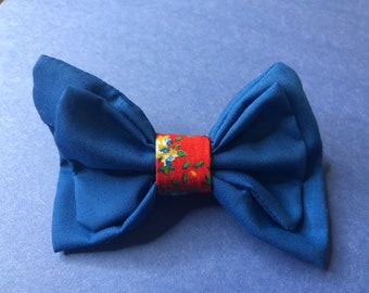 Hair Bow Barrette Blue Solid and Red Calico Floral Design