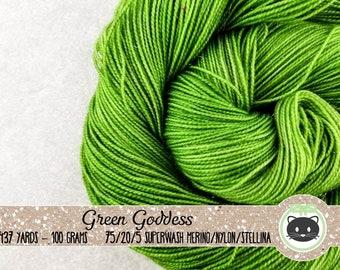 Dark Green Tonal Hand Dyed Yarn, Sock Yarn, Merino Wool Yarn, Fingering Yarn, Tonal Yarn, Sparkle Yarn, Glittering Luxe, Green Goddess