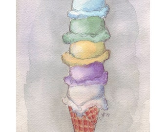 Ice Cream Watercolor Painting - Five Scoops Cone Watercolor Art Print, 8x10 Print