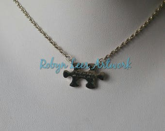 Small Silver You Are My Missing Piece Stamped Jigsaw Puzzle Piece Necklace on Silver Crossed Chain