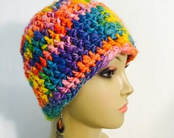 Chunky Rainbow Crocheted Hat