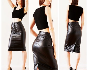 Black Faux Leather High Waisted Pencil Skirt with Pockets